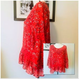 NWOT! BRIGHT RED BOHO NEW DIRECTIONS RUFFLE TOP